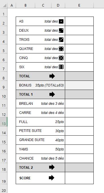 grille de yams Excel