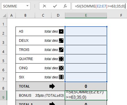 calculer le bonus au yams sous Excel