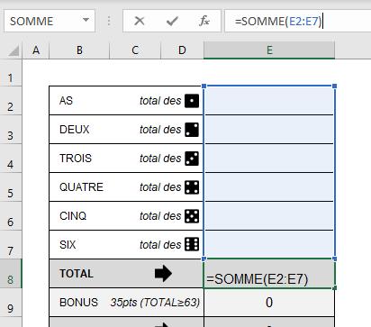 formule Excel pour grille de yams